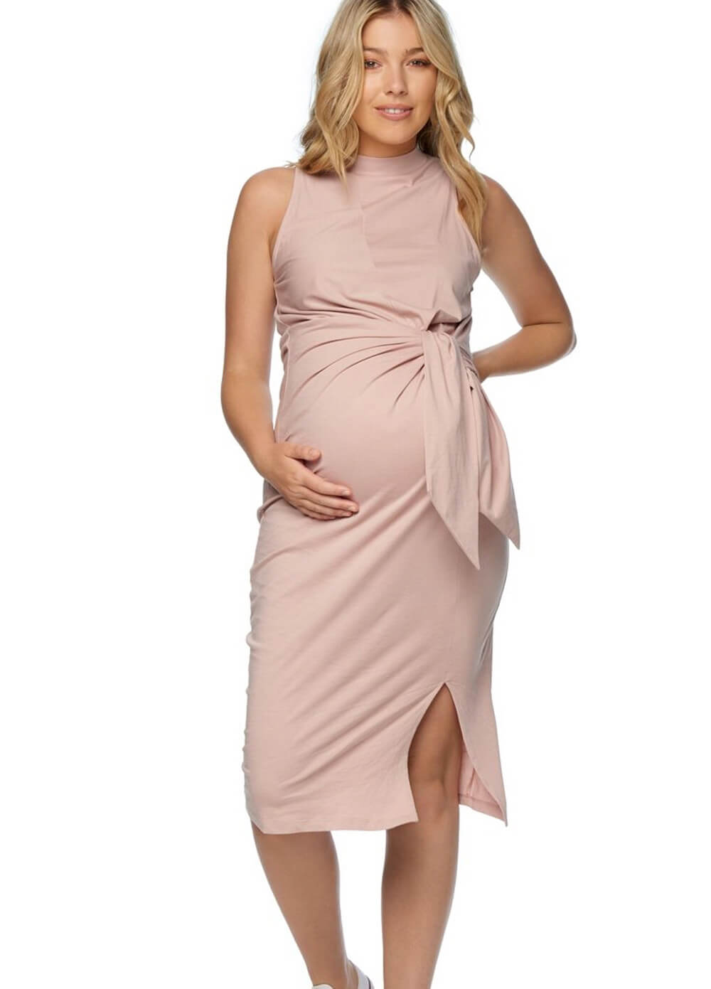 1eae8eb62a0 Daydream Tie Side Maternity Dress in Shell Pink by Bae The Label