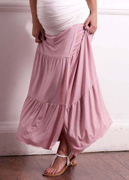 Florence Pink Tiered Wrap Maxi Maternity Skirt By Trimester