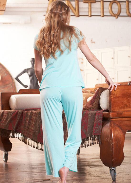 Layla Mint Blue Maternity Nursing Pyjama Set By Floressa