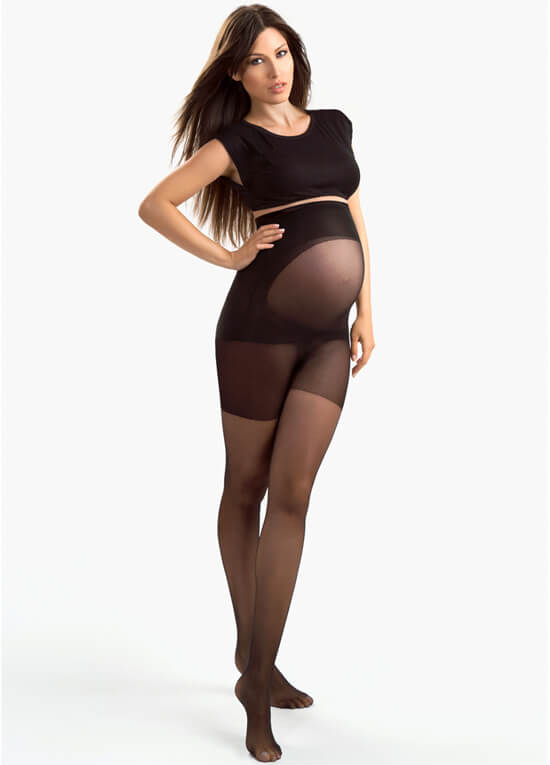 Ultra Sheer Black Belly Support Maternity Pantyhose by Blanqi
