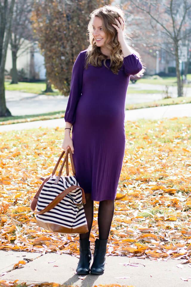 Allesandra Purple Maternity Dress By Trimester Clothing
