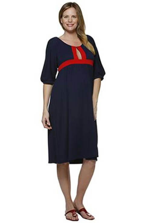 NOM3150 - NOM Border Trim Dress :  maternity dress maternity maternity clothes
