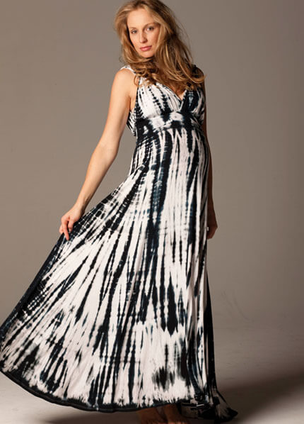Fillyboo - Tie-Dye Maxi Goddess Dress in Licorice :  designer maternity dresses maternity fashion pregnancy clothing maternity dresses