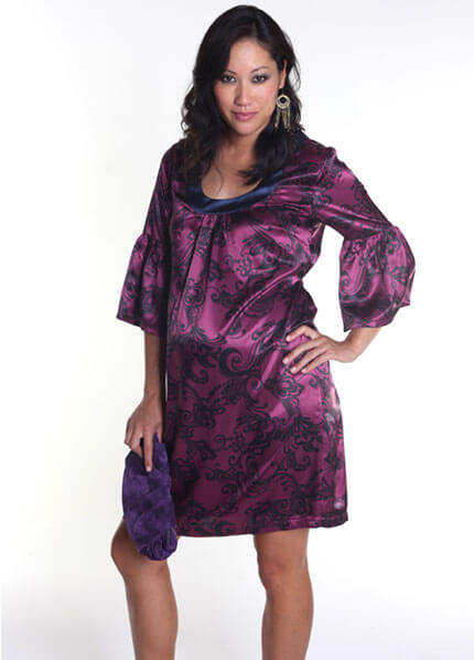 Everly Grey - Sonya Dress in Magenta Swirl :  designer maternity dresses maternity clothing maternity maternity wear