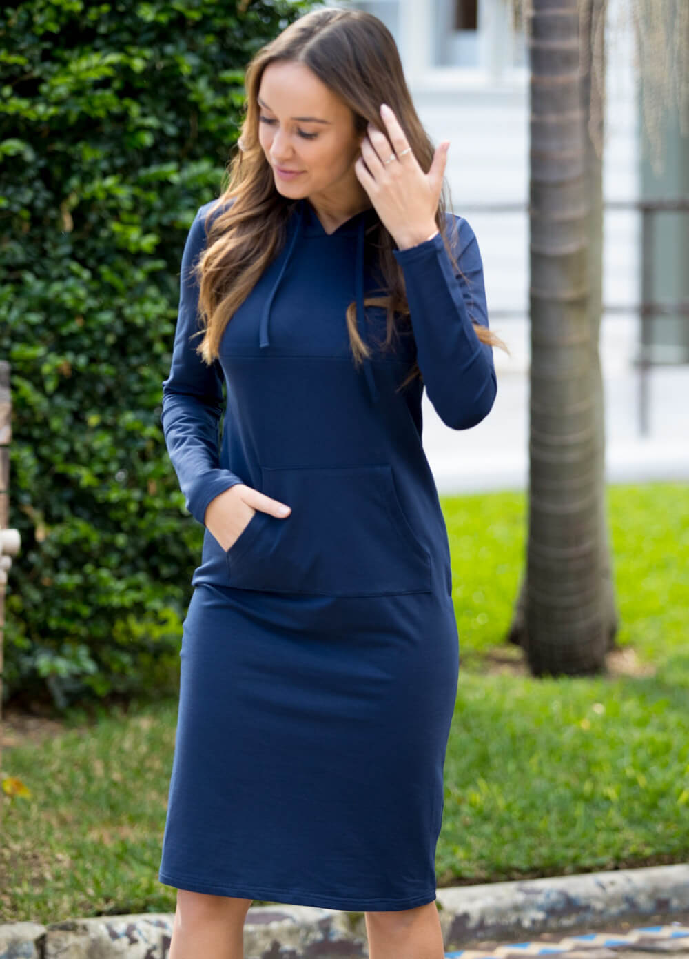 94138be2be4 Brittany Hoodie Breastfeeding Dress in Navy by Lait   Co