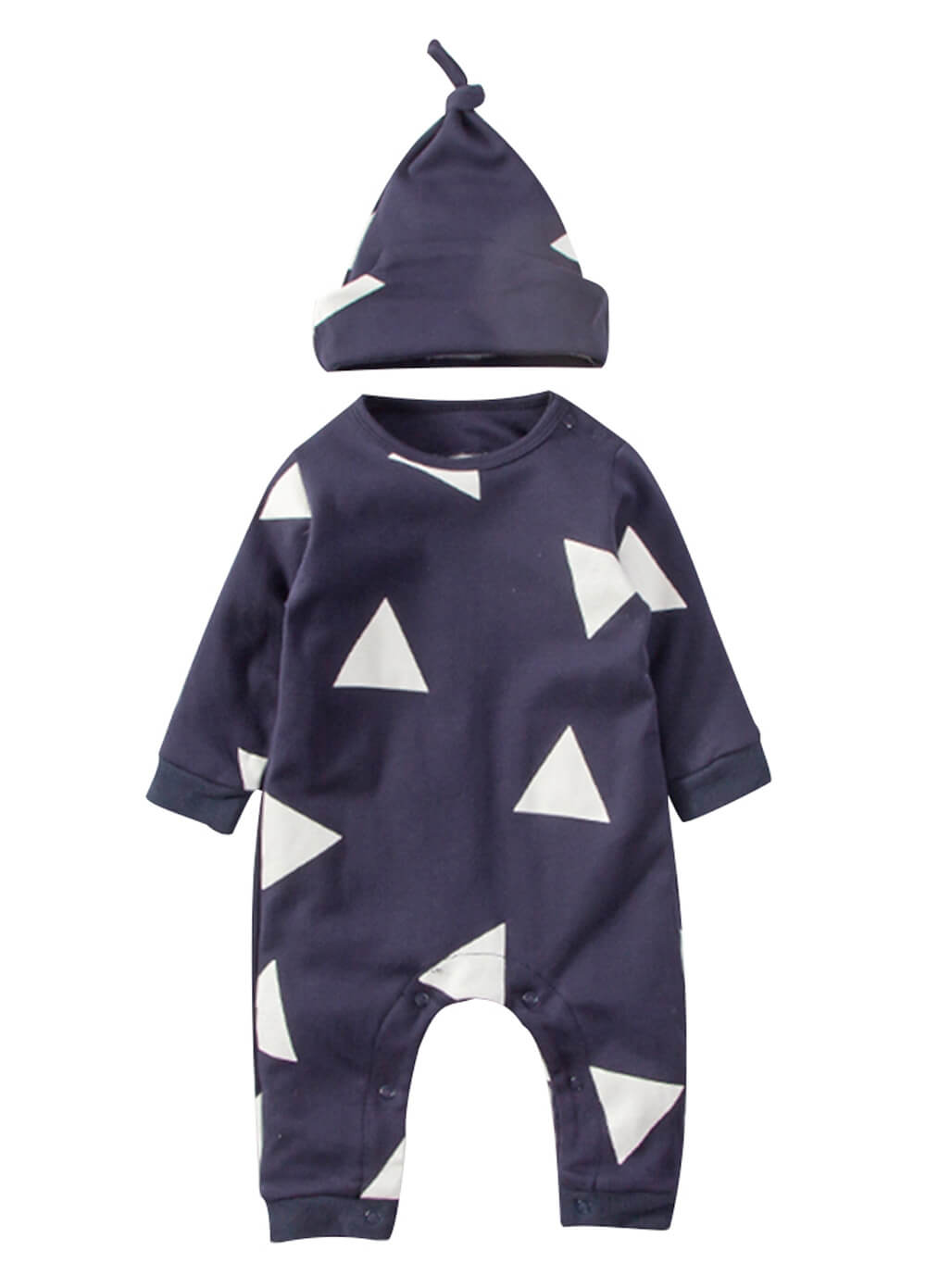 Triangle Print Newborn Baby Onesie   Hat in Blue from Lait   Co d1ddb2b8f91