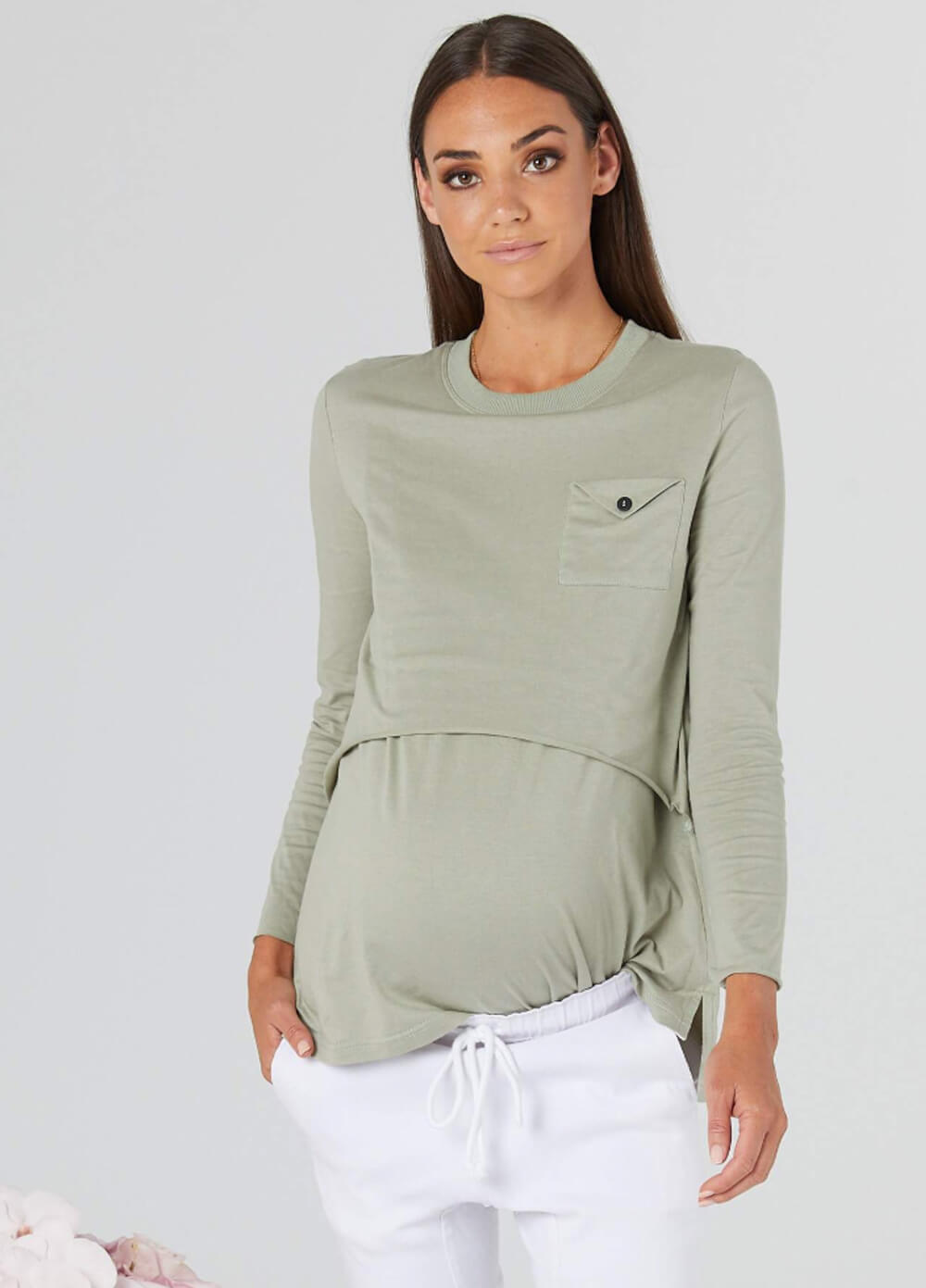 6826f2f737860 Brooklyn Envelope Maternity Nursing Tee in Olive by Legoe