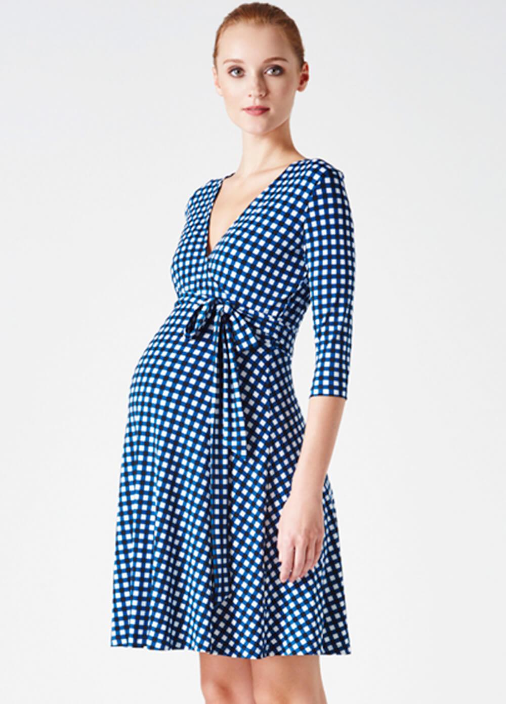 a76ec657b2fd Marine Gingham Perfect Wrap Maternity Mini Dress by Leota