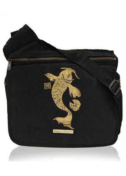 Diaper Dude - Black Faux Suede - Koi :  dads bag nappy bag baby bag diaper bag