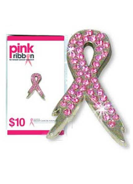 Queen Bee NBCF - Pink Ribbon Diamante Pin - Queen Bee