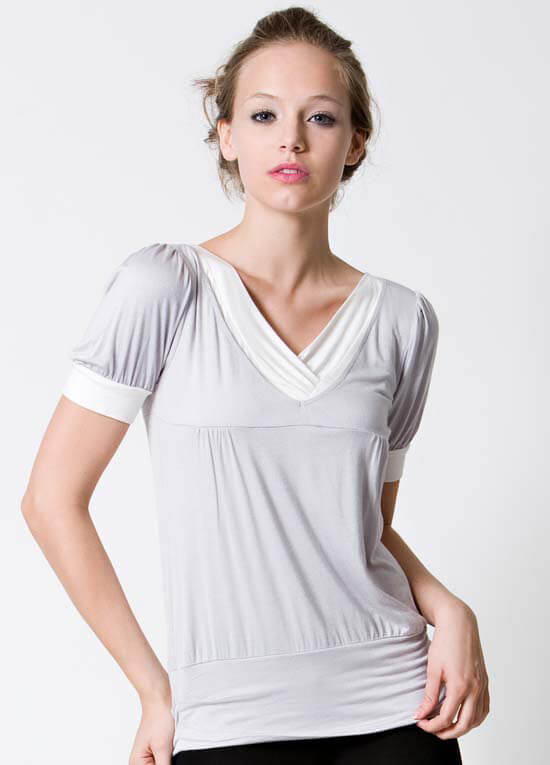 Dote - Slate Short Sleeve Nursing Top in Grey :  nursing wear breastfeeding clothes nursing loungewear maternity tops