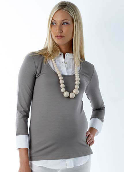 Queen Bee Samantha Mock Layered Maternity Shirt by Seraphine