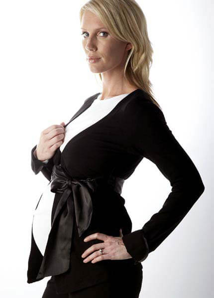 SER0039 - Elizabeth Jersey Jacket with satin belt :  formal maternity wear maternity fashion maternity tops queen bee maternity