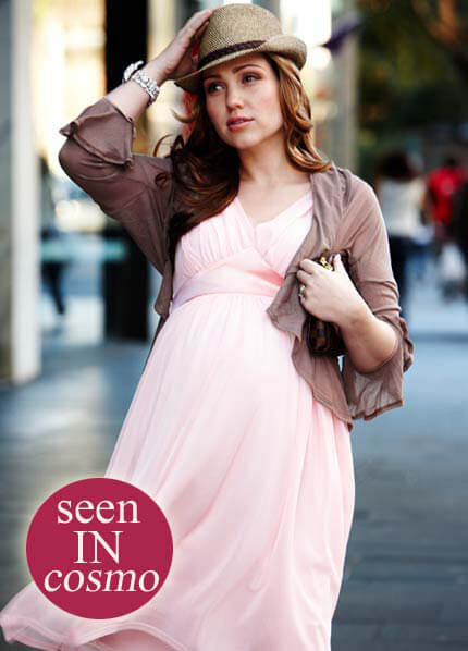 Queen Bee Tulle Maternity Cocktail Dress in Blush Pink by Maternal America