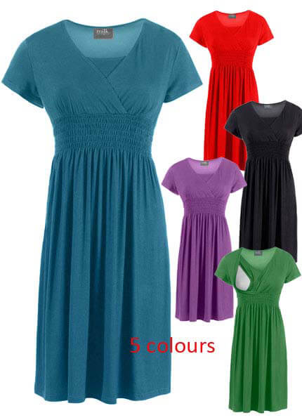 MN3061 - Smocked Waist Nursing/Maternity Dress - 2 colours