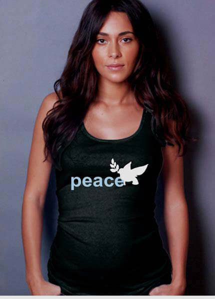 NOM2068 - NOM Black Rib Tank with Peace Dove Print