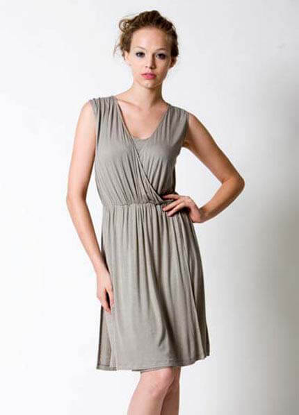 Dote - Stella Draped Nursing Dress in Moss :  nursing wear breastfeeding clothes designer maternity dresses maternity fashion