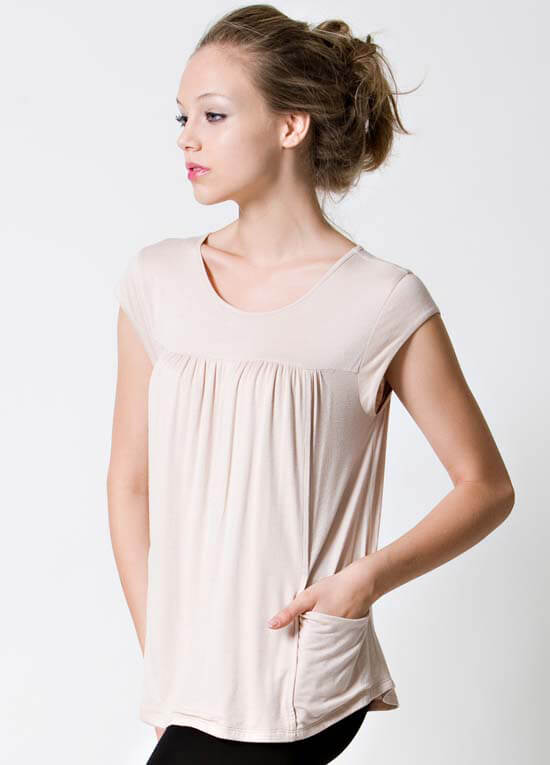 Dote Lindsay Pocket Nursing Top - Beige