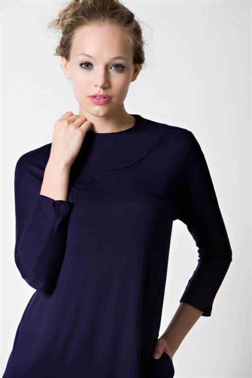 Dote Ink Zip Neck Nursing Top - Navy Blue