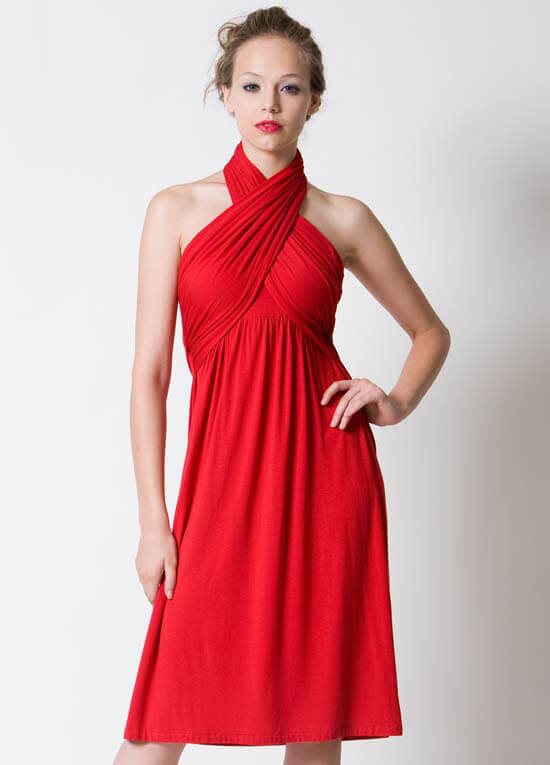 Dote - Sienna Halter Nursing/Maternity Dress in Red :  nursing wear maternity clothing maternity maternity wear