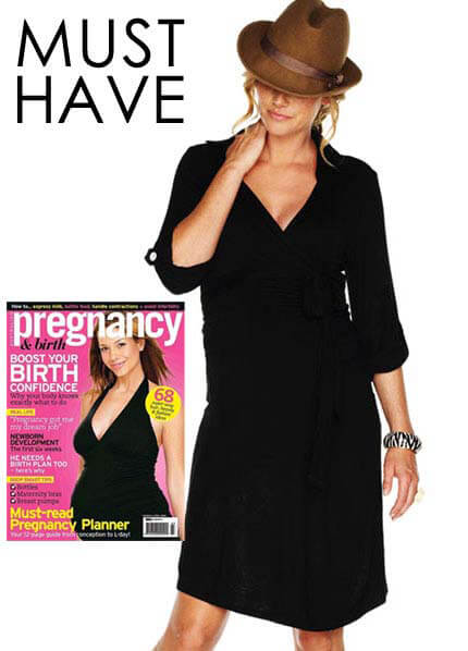 Queen Bee Astute Collared Wrap Black Maternity Dress by Trimester Clothing