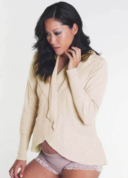 Queen Bee Luella Maternity Cardigan in Creme by Deshabille