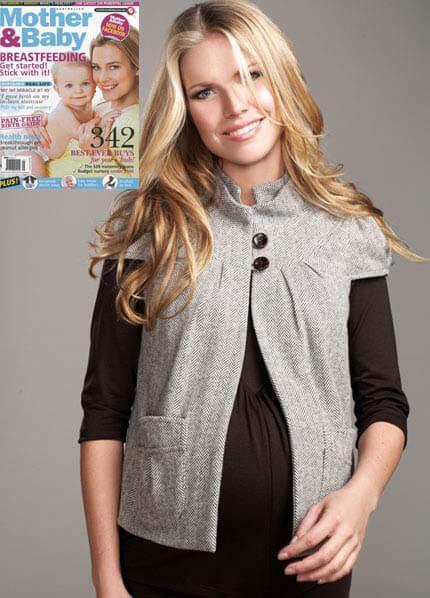 Queen Bee Mandarin Maternity Jacket in Herringbone by Maternal America