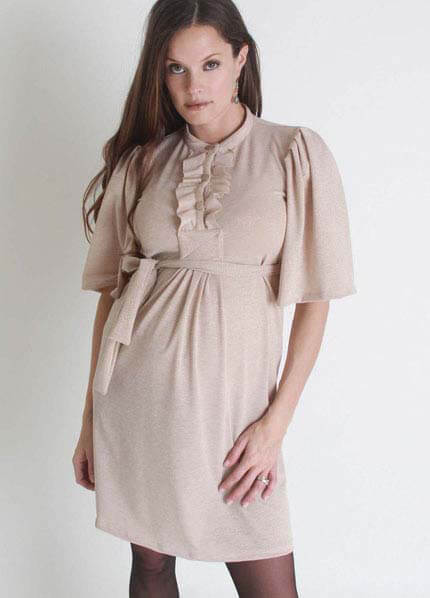 Queen Bee Champagne Ruffled Front Maternity Dress by Nuka