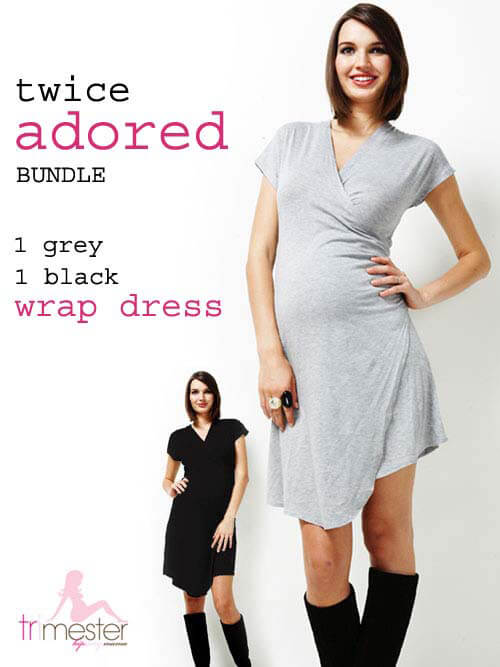 Queen Bee Twice Adored Bundle  Maternity Wrap Dress by Trimester