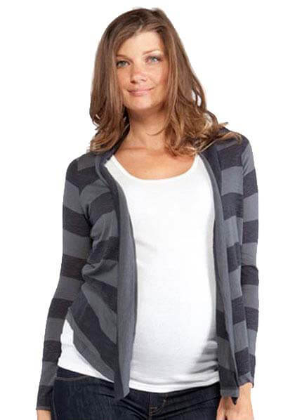 Queen Bee Scout Striped Maternity Cardigan by NOM