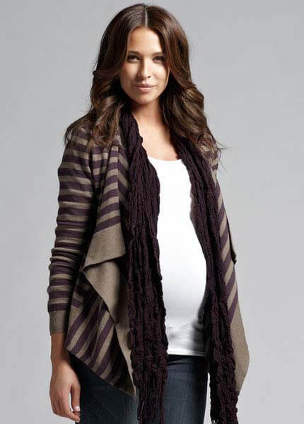 Queen Bee Striped Draped Maternity Cardigan by Ripe Maternity
