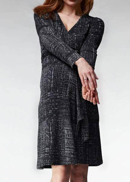 Queen Bee Madeline Long Sleeve Wrap Maternity Dress by Soon Maternity