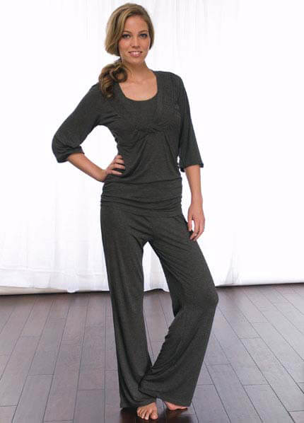 Queen Bee 2 pc Charcoal Maternity/Nursing Pyjama Set by La Leche League