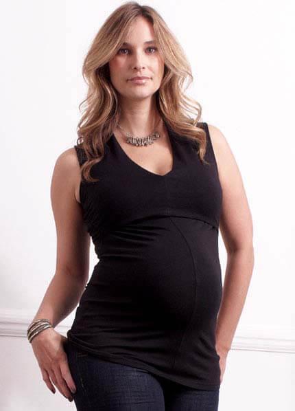 Queen Bee Troy Sexy Cut Black Maternity/Nursing Top by Quack Nursingwear