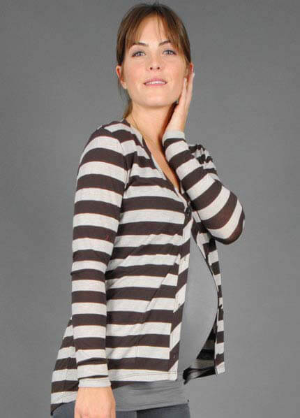 Queen Bee Paige Stripe Maternity Cardigan by LA Made