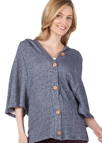 Queen Bee Blue Knit Maternity Hooded Cardigan by NOM