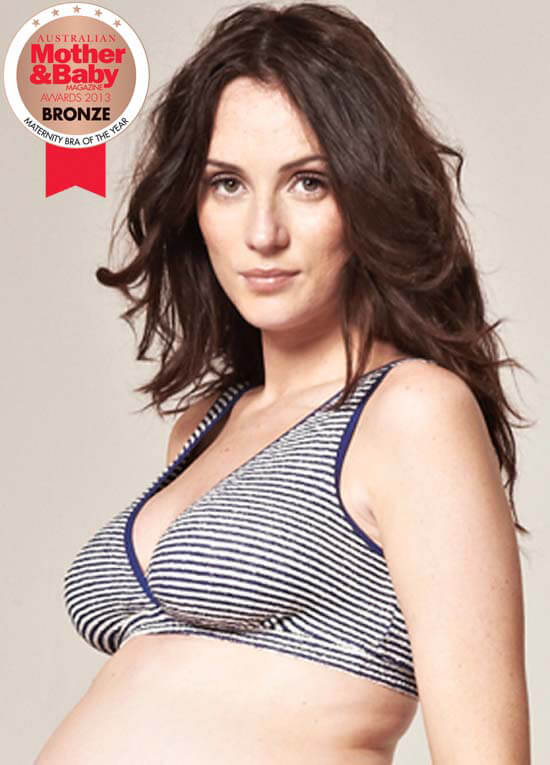 Queen Bee Brenda Blue Striped Maternity/Nursing Sleep Bra by QueenBee
