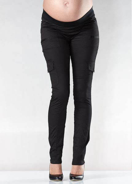 Queen Bee Skinny Maternity Cargo Pants in Black by Soon Maternity