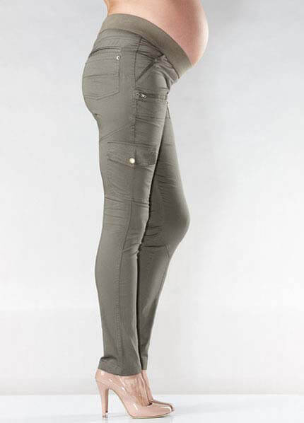 Skinny Maternity Cargo Pants In Kkaki By Soon Maternity