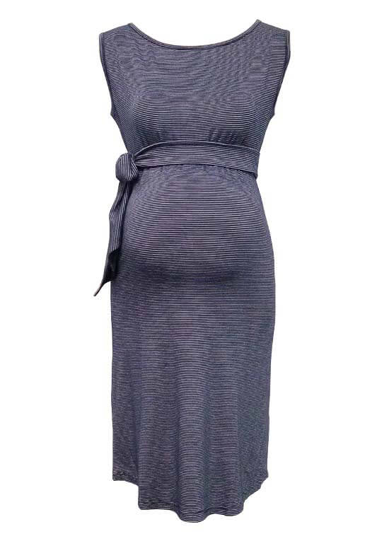 Queen Bee Ursula Blue Striped Maternity Dress by Trimester Clothing