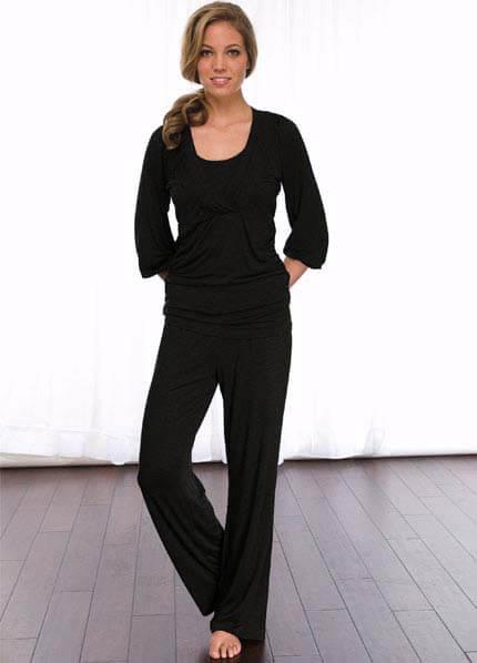 Queen Bee 2 pc Black Maternity/Nursing Pyjama Set by La Leche League