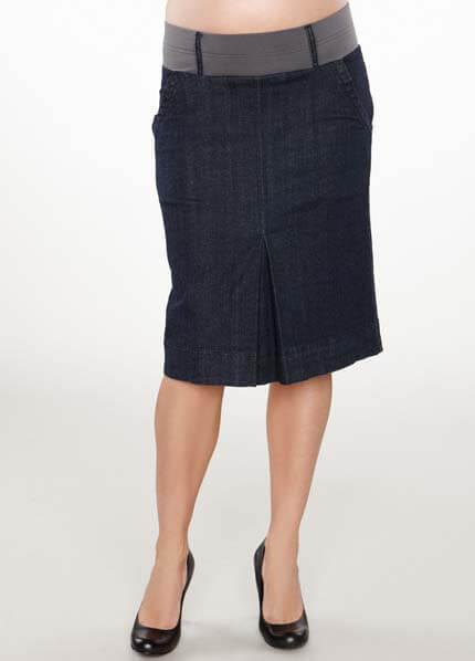 Queen Bee Maternal America - Denim Pleat Maternity Skirt