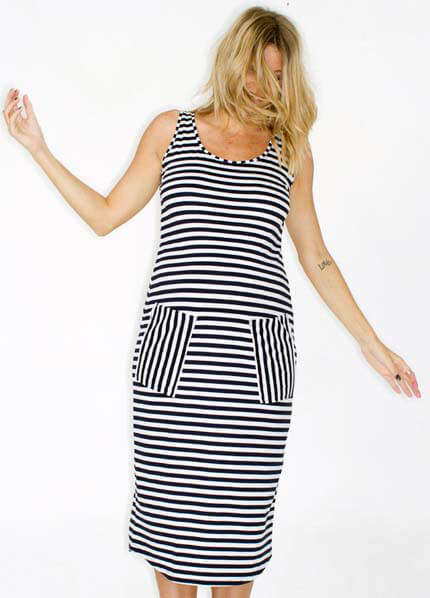 Queen Bee Baby Lets Dance Reverse Stripe Maternity Dress by Fillyboo