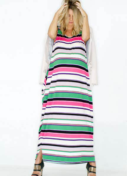Queen Bee Multi Stripe Lets Be Together Maxi Dress by Fillyboo
