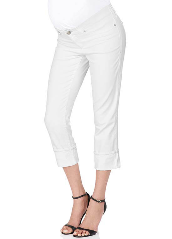 Nikki White Stretch Maternity Capri Jeans by Mavi