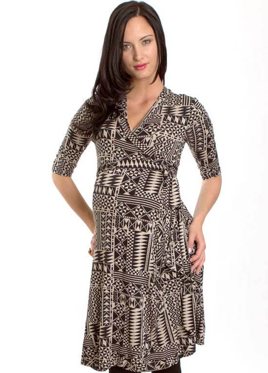 Kaitlyn Maternity Wrap Dress In Geo Print By Everly Grey