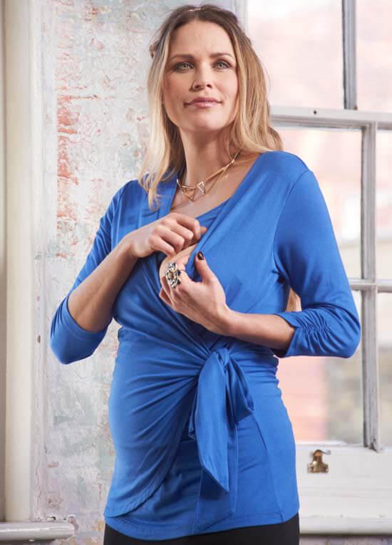 Kristen Blue Maternitynursing Wrap Top By Floressa Clothing
