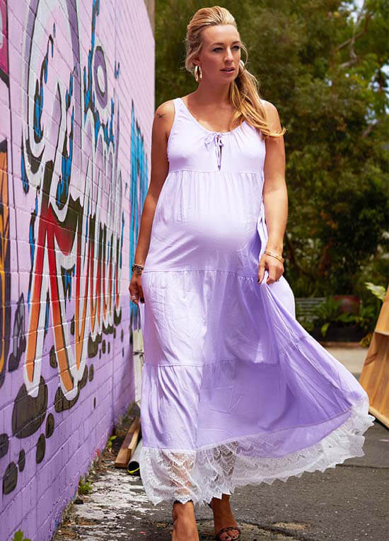 0470ba5e2a2 Songbird Maxi Maternity Dress in Lilac by Fillyboo