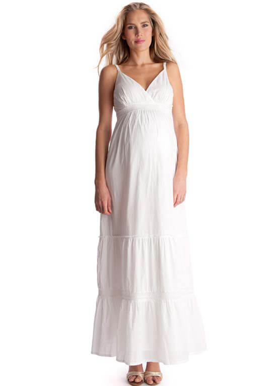 White Lace Trim Maternity Maxi Dress By Seraphine