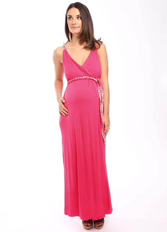 1142117b44aca Sofia Maternity Maxi Dress in Coral by Everly Grey